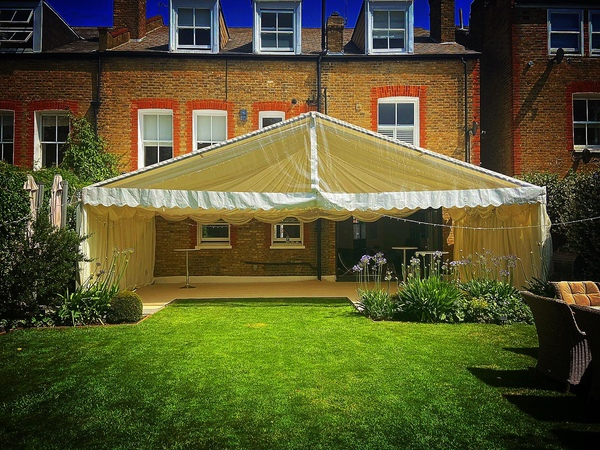 9m ivory pleated lining marquee